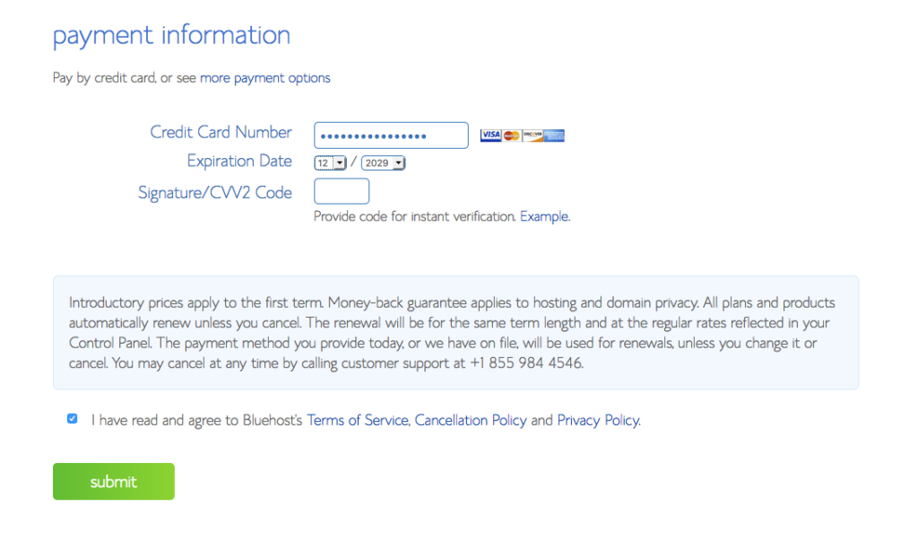 Payment information for your WordPress blog on Bluehost